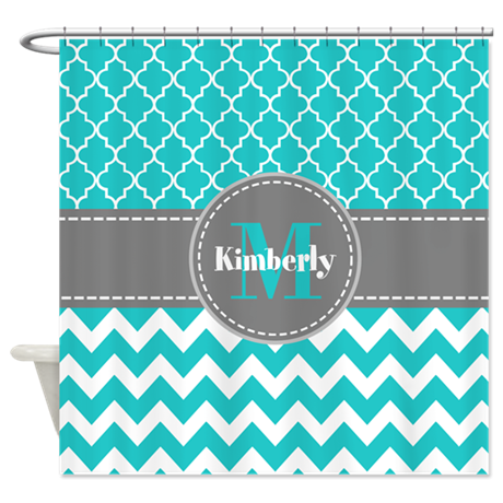 Gray And Blue Chevron Personalized Shower Curtain By CustomGifts123