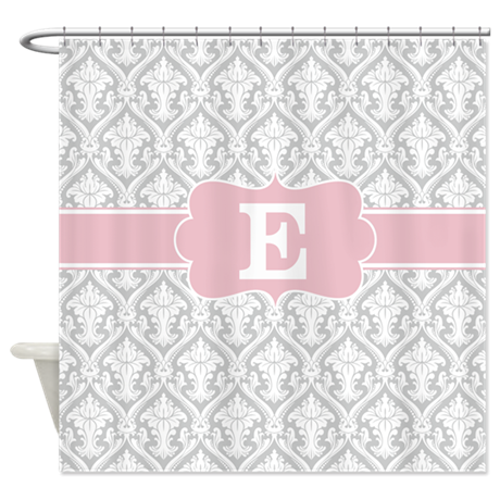 Gray pink damask monogram shower curtain by for Gray curtains png