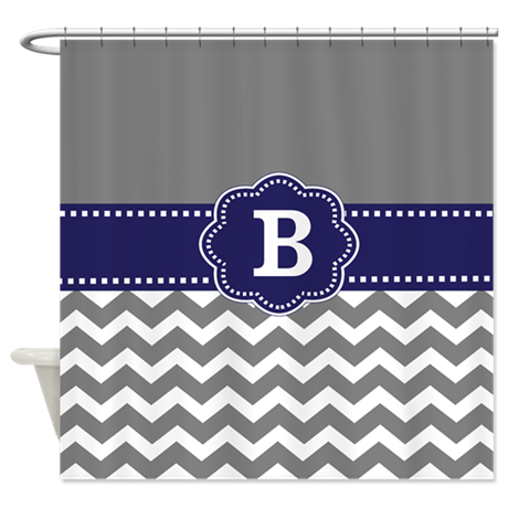 gray navy chevron monogram shower curtain by