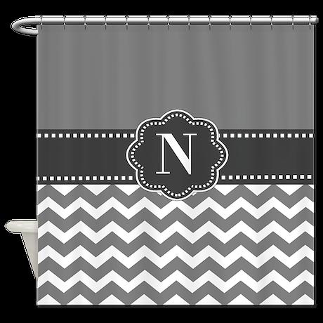 Gray Charcoal Chevron Monogram Shower Curtain By Cupcakesandsprinklesbirthdaytees