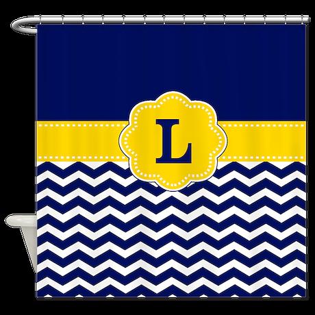 blue yellow chevron monogram shower curtain by