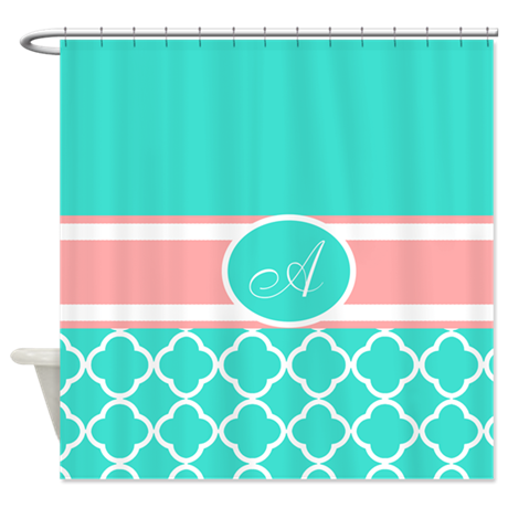 turquoise and coral monogram shower curtain by