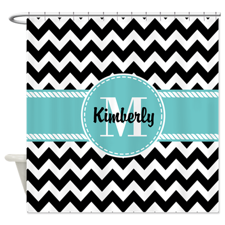 black and turquoise chevron custom shower curtain by