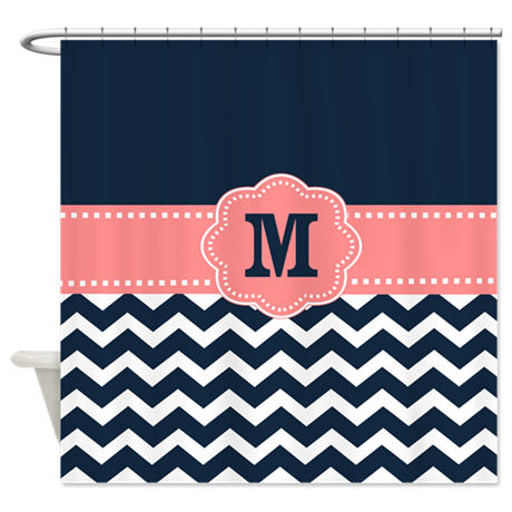 Navy Coral Chevron Monogram Shower Curtain By CupcakesandSprinklesBirthdayTees