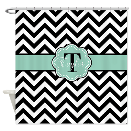 black mint chevron personalized shower curtain by