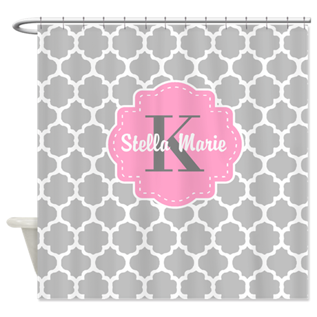 Gray Pink Quatrefoil Personalized Shower Curtain By