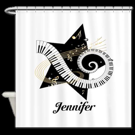 Music star gold black Shower Curtain