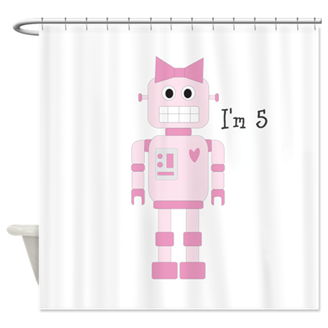 Custom Girly Robot Shower Curtain