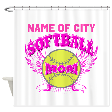 Personalize Softball Mom Shower Curtain