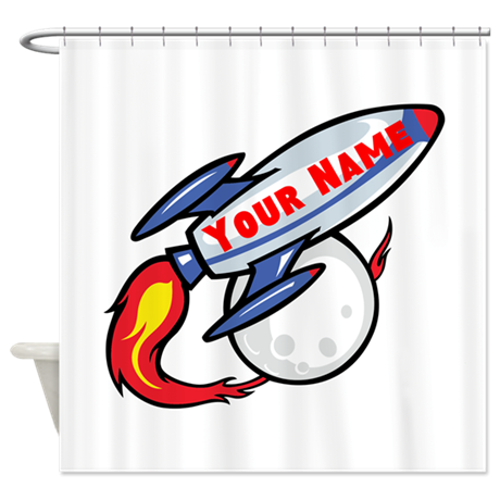 Personalized rocket Shower Curtain