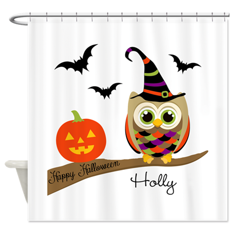 Custom name Halloween owl Shower Curtain