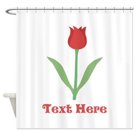 Dark Red Tulip and Text. Shower Curtain