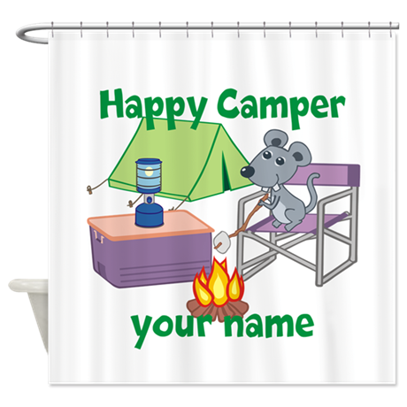 Custom Happy Camper Mouse Shower Curtain
