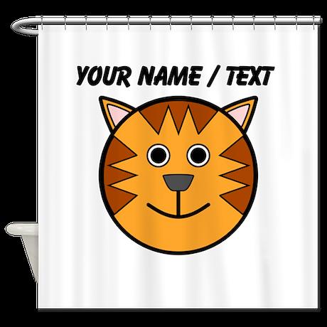 Custom Cartoon Cat Face Shower Curtain