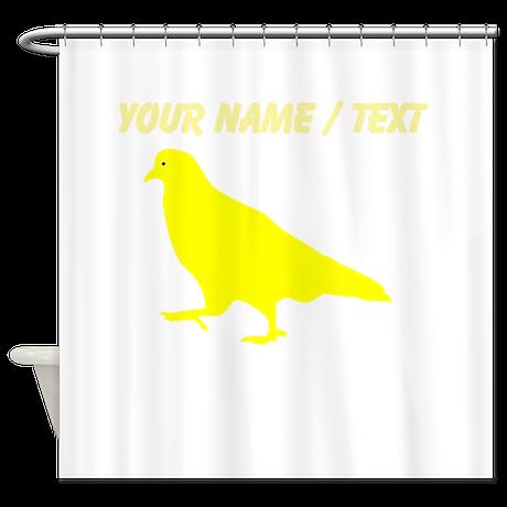 Custom Yellow Pigeon Silhouette Shower Curtain