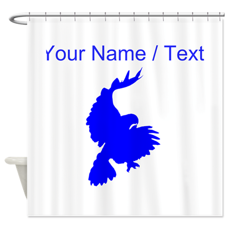 Custom Blue Hawk Silhouette Shower Curtain