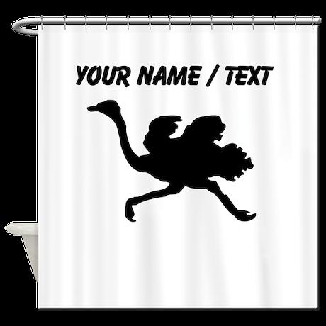 Custom Black Ostrich Silhouette Shower Curtain
