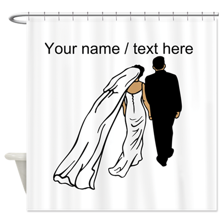 Custom Bride And Groom Shower Curtain