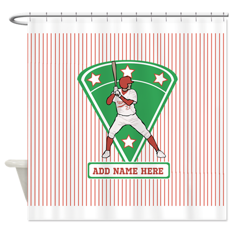 Personalized Red Baseball star player Shower Curta