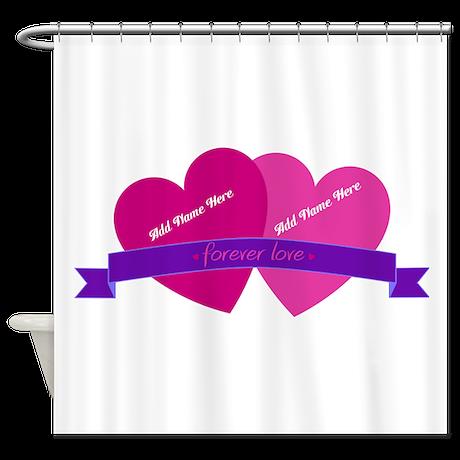 Forever Love Heart Names Shower Curtain
