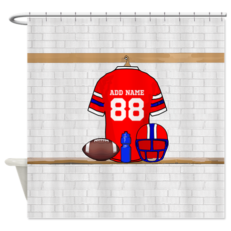 Personalized Football Grid iron jersey Shower Curt