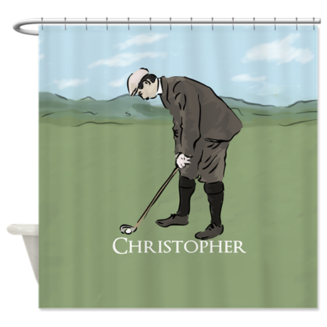 Personalized vintage golf scene Shower Curtain