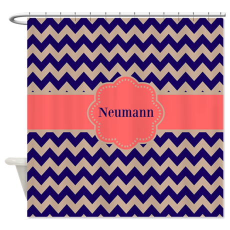 Navy coral chevron personalized shower curtain by