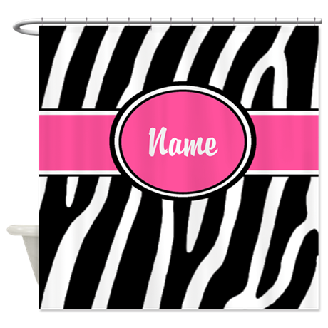 Pink Zebra Print Personalized Shower Curtain