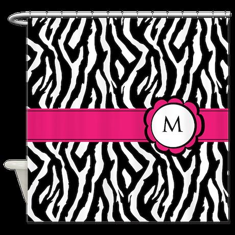 Zebra print monogram Shower Curtain