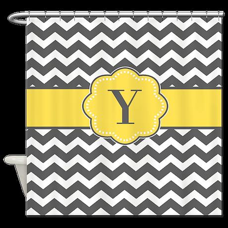 Gray Yellow Chevron Monogram Shower Curtain
