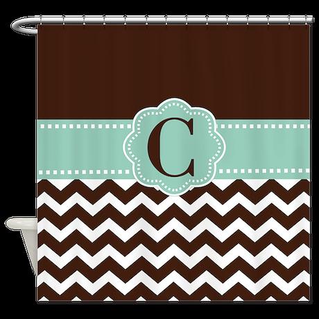 Brown Mint Chevron Monogram Shower Curtain