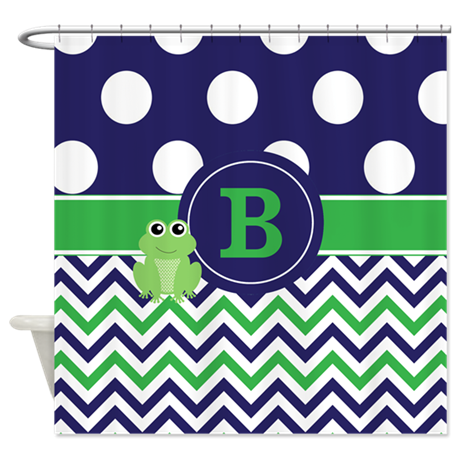 Blue Green Frog Monogram Shower Curtain