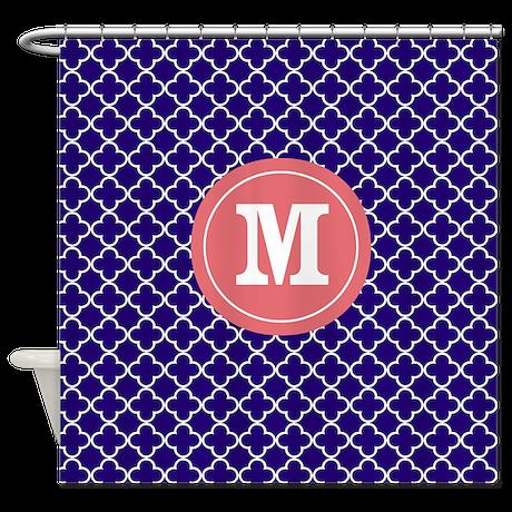 Navy coral quatrefoil monogram shower curtain by