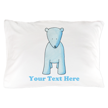 Baby Polar Bear. Custom Text. Pillow Case