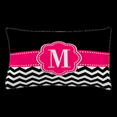 Pink Black Chevron Monogram Pillow Case