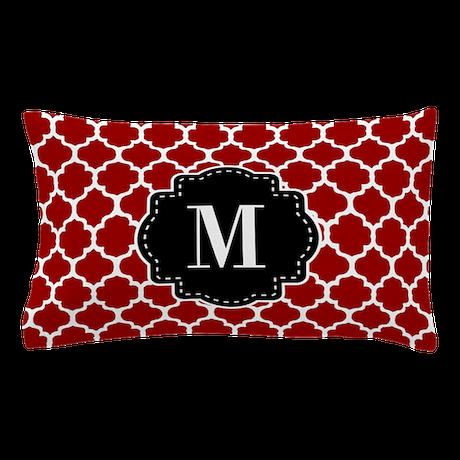 Red Black Quatrefoil Monogram Pillow Case