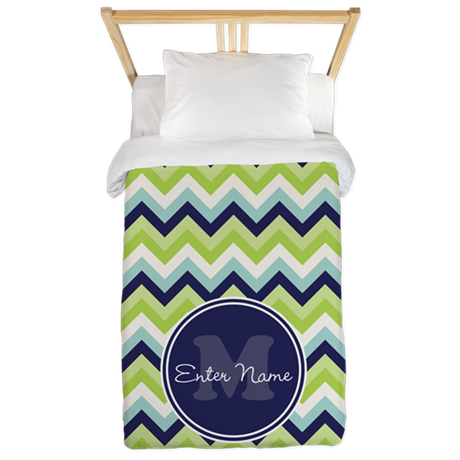 Green Blue Chevron Personalized Twin Duvet