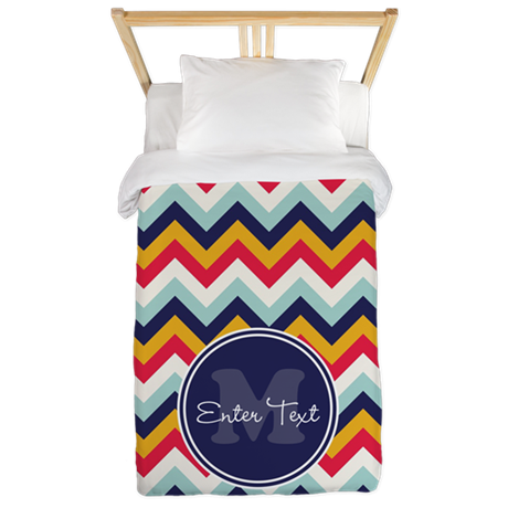 Orange Blue Chevron Personalized Twin Duvet