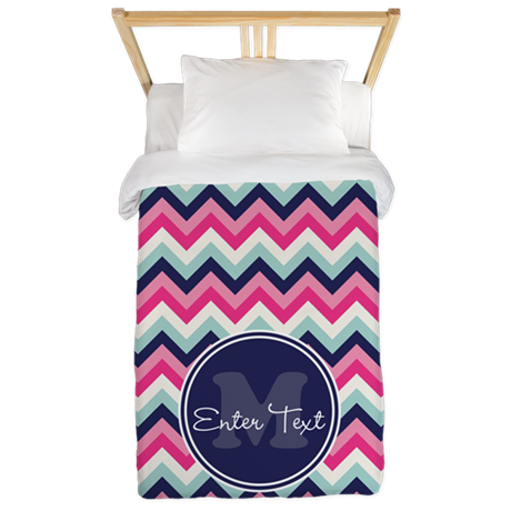 Pink Blue Chevron Personalized Twin Duvet