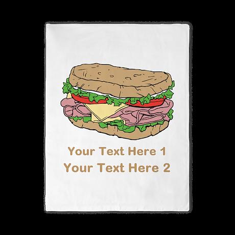 Sandwich. Custom Text. Twin Duvet
