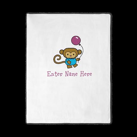 Personalized Monkey Twin Duvet