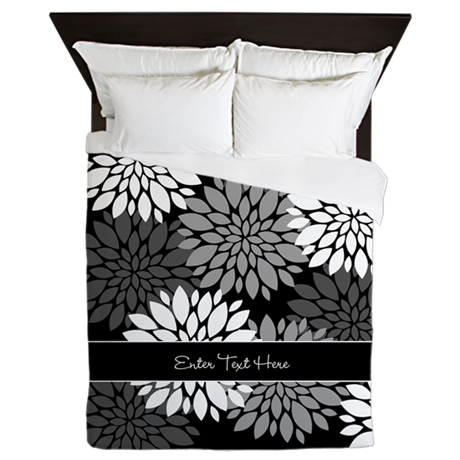 Black Floral Personalized Queen Duvet