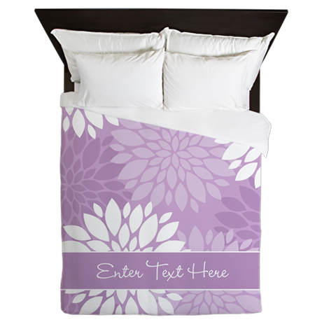 Lilac Floral Personalized Queen Duvet