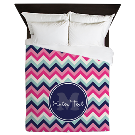 Pink Blue Chevron Personalized Queen Duvet