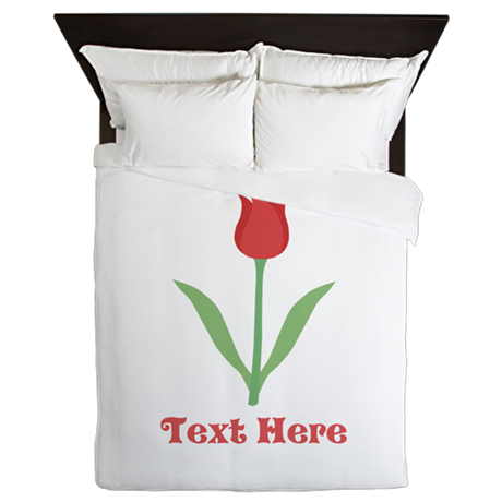 Dark Red Tulip and Text. Queen Duvet