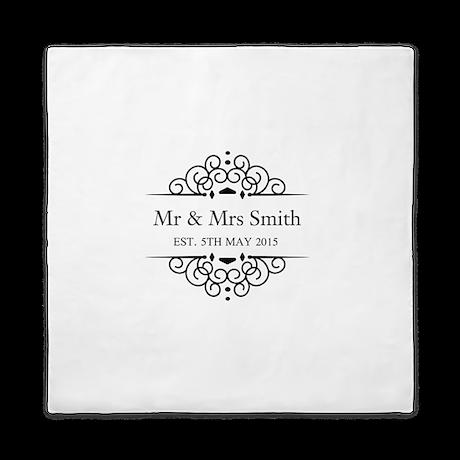 Custom Couples Name and wedding date Queen Duvet