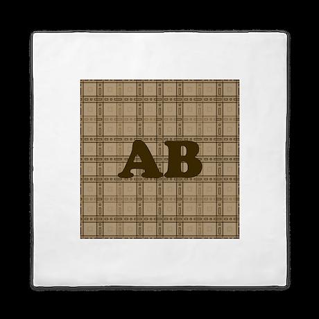 Monogram Brown Plaid Style Pattern Queen Duvet