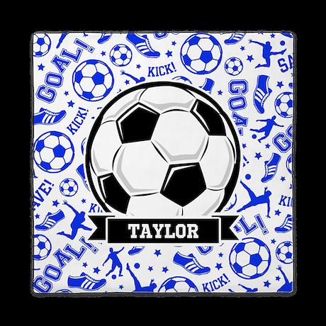 Blue Soccer Queen Duvet By Clipartmegamart