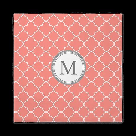 Coral Quatrefoil Monogram Queen Duvet