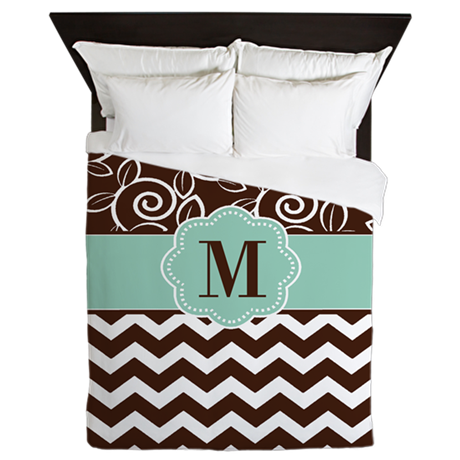 Brown Green Scroll Damask Monogram Queen Duvet